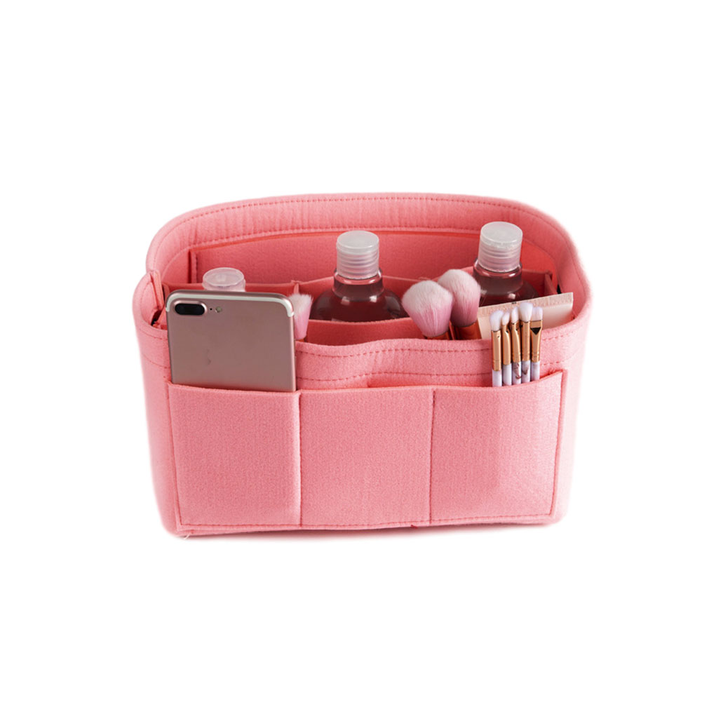 Make up Organizer Insert Bag for Handbag Travel Inner Purse Portable Cosmetic Bag  Pink_S:22*11*13cm