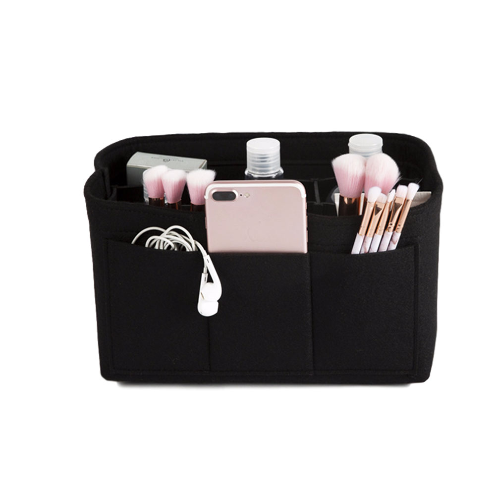 Make up Organizer Insert Bag for Handbag Travel Inner Purse Portable Cosmetic Bag  black_S:22*11*13cm