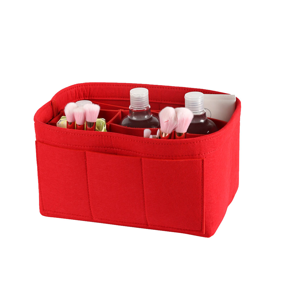 Make up Organizer Insert Bag for Handbag Travel Inner Purse Portable Cosmetic Bag red_S:22*11*13cm
