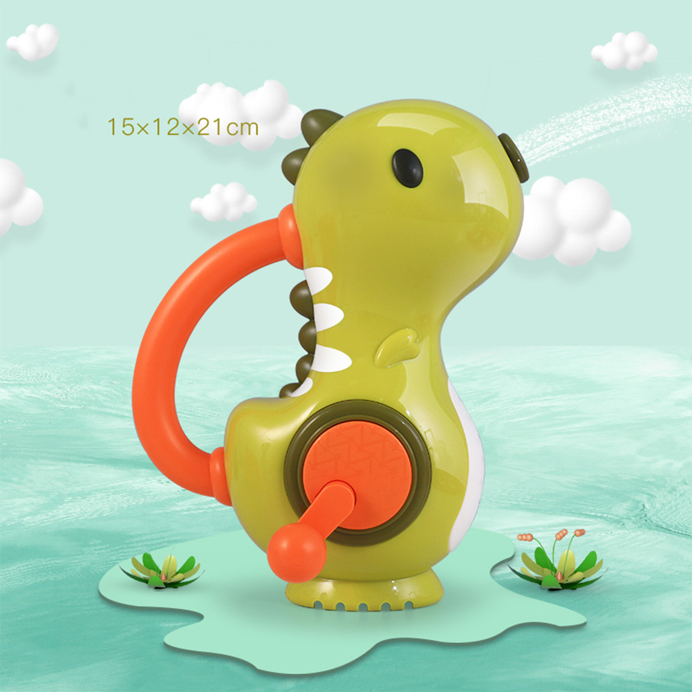 Baby  Bathing  Toy Hand-operated Water Jet Colorful Dinosaur Floating Bathtub Bathroom Toy Green