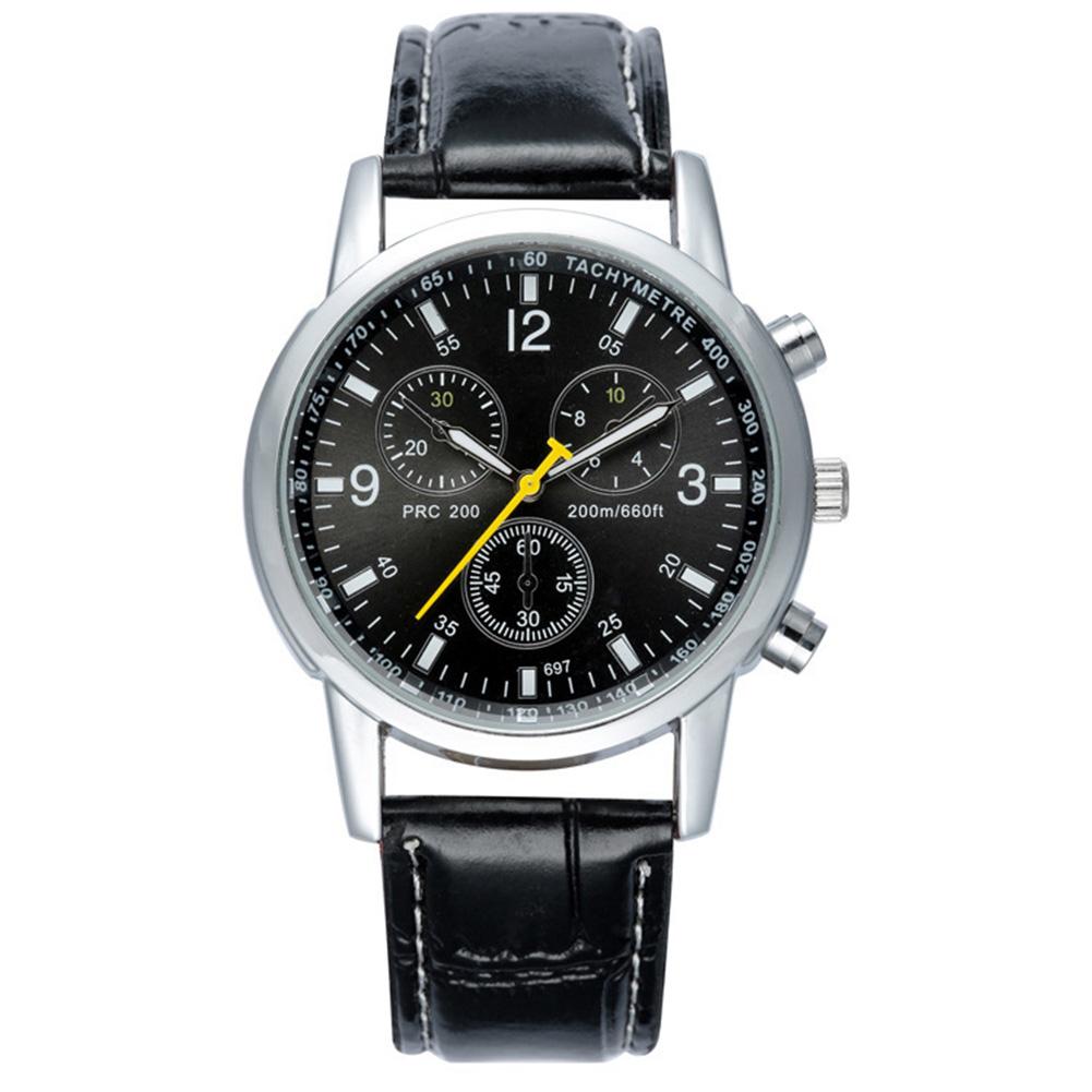 [Indonesia Direct] Men Luxury Business Style Faux Leather Quartz Wristwatch Fashion Watch  Black