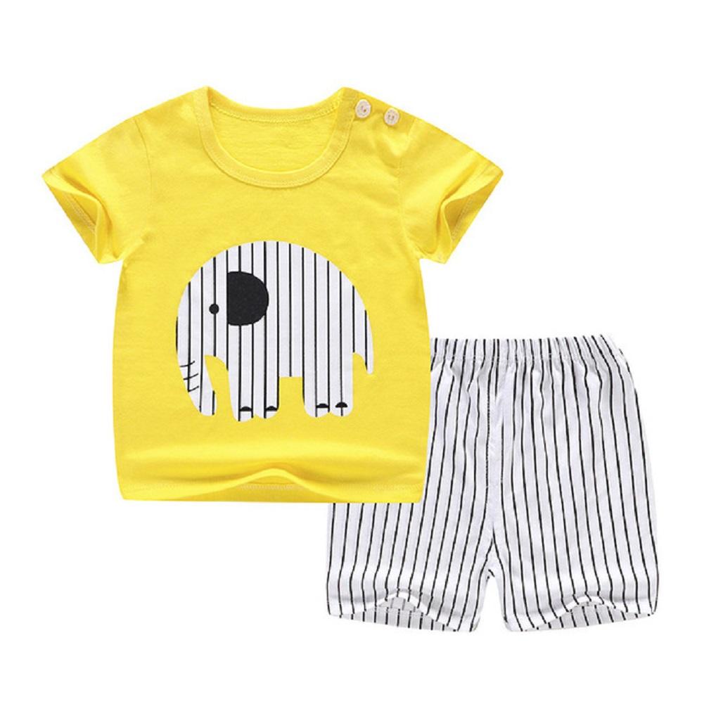 [Indonesia Direct] 2pcs/set Kids Girls Boys Summer Soft Cotton Breathable Cartoon Printing T-shirt + Shorts Suit yellow elephant_73cm