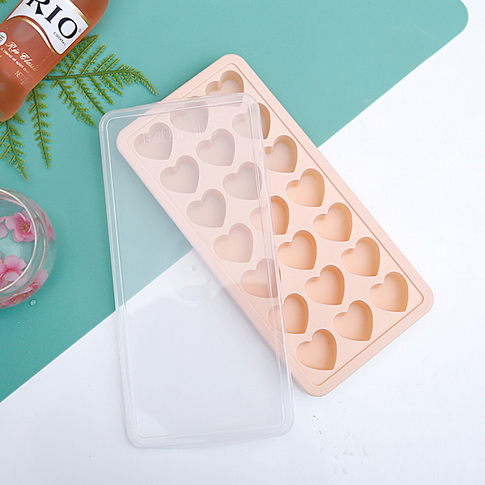 21 Grids Ice Block Mold Heart Shape Ice Tray Silicone DIY Handmade Ice Cream Chocolate Making Mould with Lid Pink