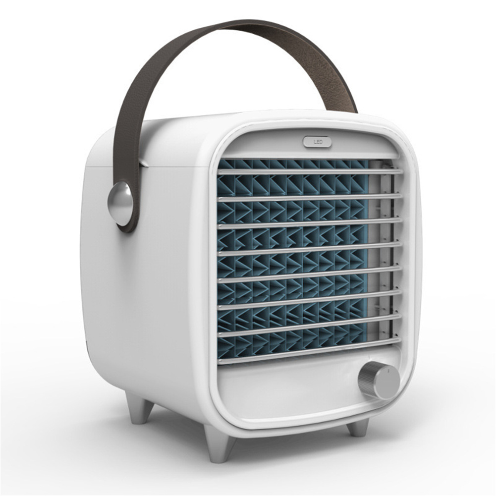 Portable  Air  Conditioner Small Usb Desktop Computer Built-in Air Cooler Powerful Night Light Cooling Fan White