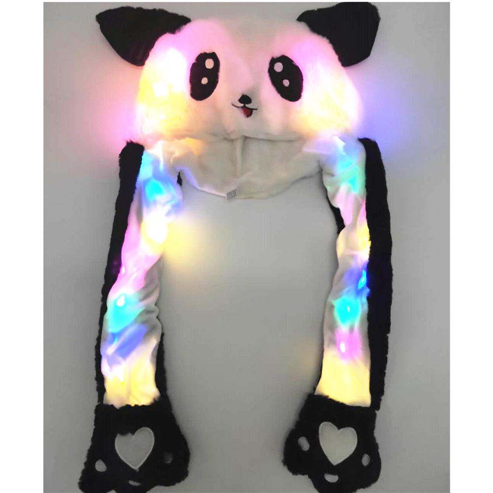[Indonesia Direct] Lighting Lovely Cartoon Jumping Animal Ears Soft Plush Hat Air Bladder Cap Panda 1
