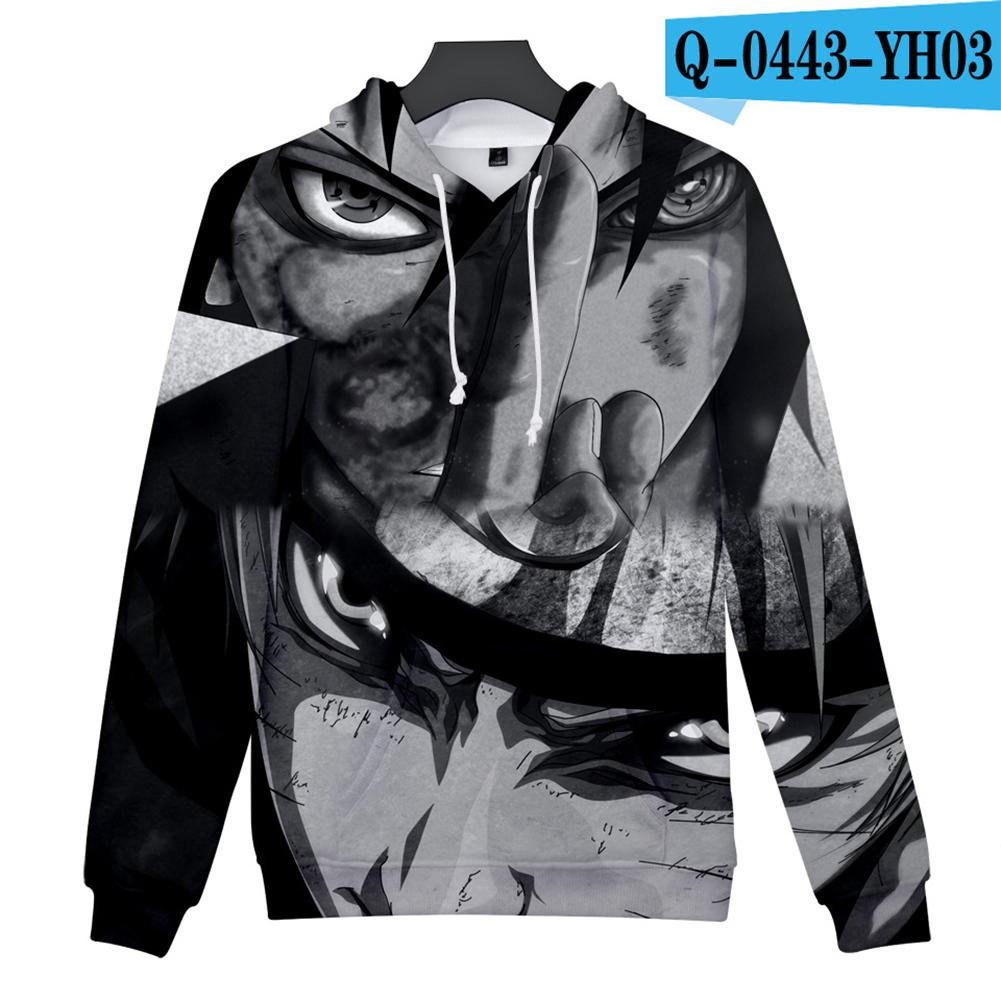 Men Women 3D Naruto Series Digital Printing Loose Hooded Sweatshirt Q-0443-YH03 B_M