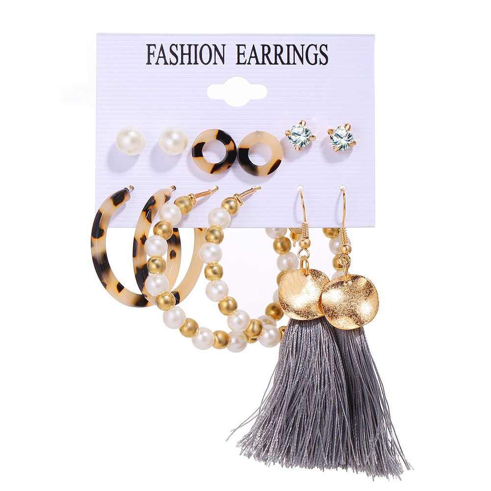 6 Pairs of Women's Earrings Pearl Tassel Retro Style Earrings Golden