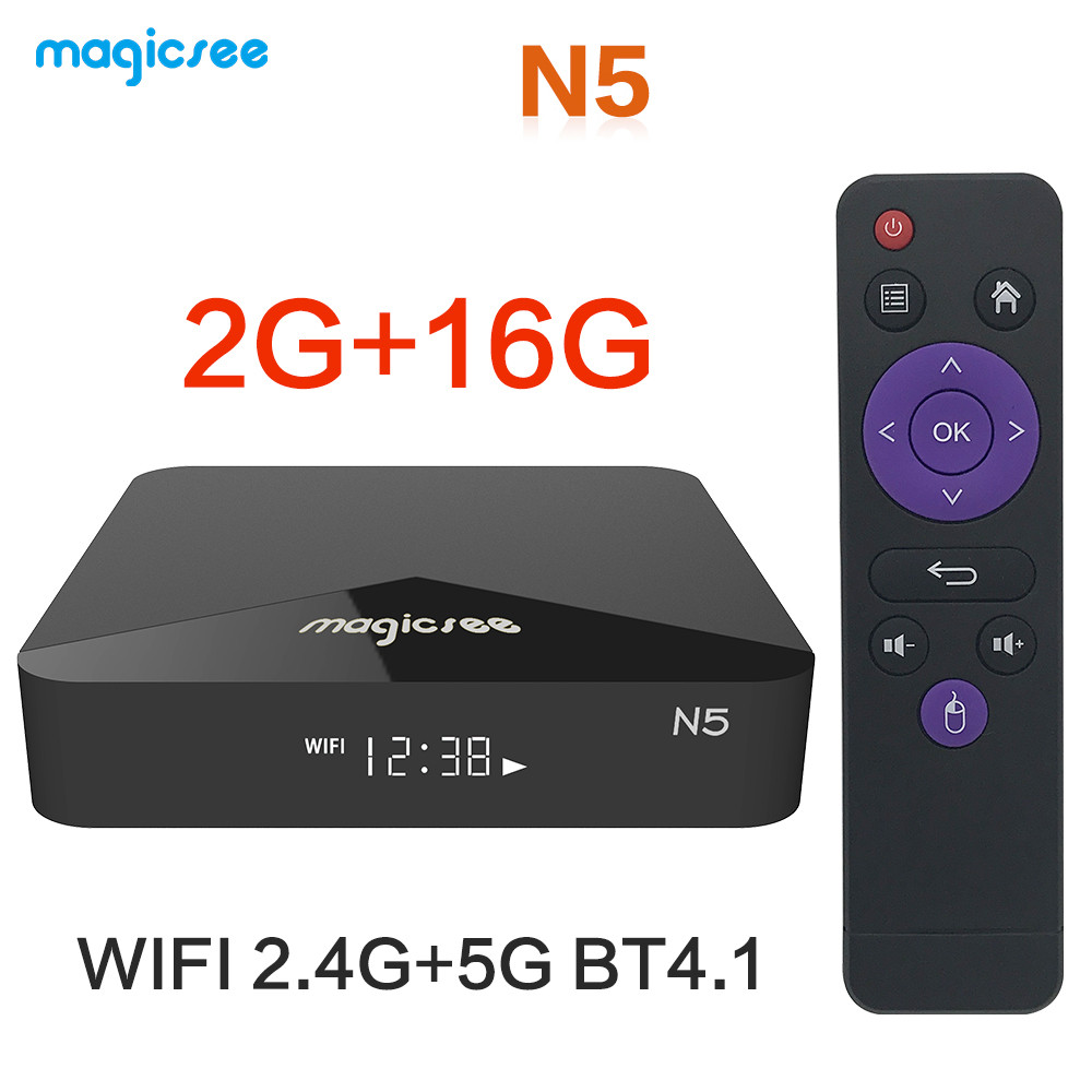 TV BOX N5 Android 9.0 TV BOX Amlogic S905X Quad-core 4K Resolution 2GB RAM 16GB ROM 2.4G 5G WiFi Set Top Box black_2 + 16GB dual WIFI British regulations
