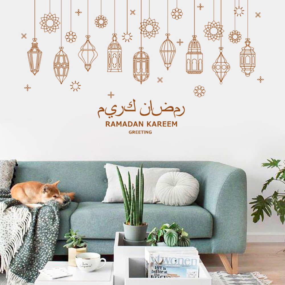 Ramadan Kareem Light Wall Sticker PVC Adhesive Removable Wallpaper Decal Eid Festival Decoration 30 * 90CM * 2PCS
