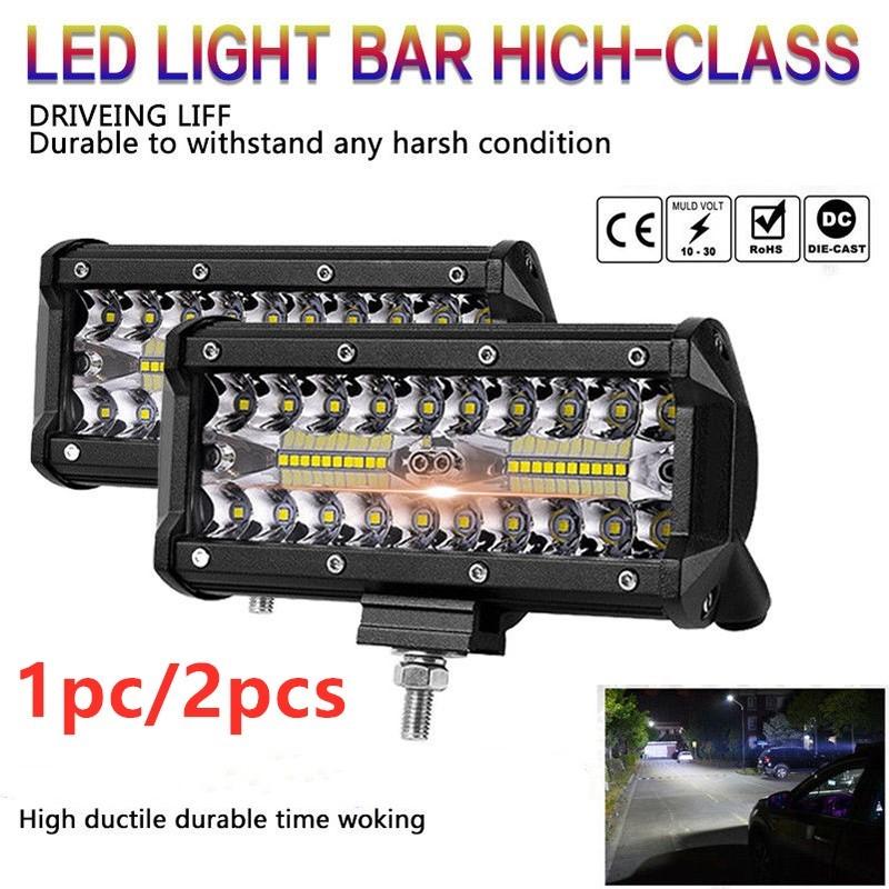 [EU Direct] 7 inch 400W LED Work Light Bar Flood Spot Beam Offroad 4WD SUV Driving Fog Lamp  black