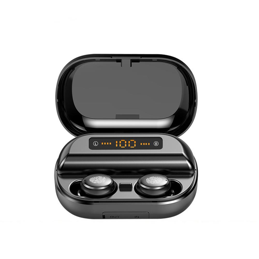 TWS Bluetooth Earphones Digital Motion 5.0 Super Long Standby Fingerprint Touch Noise Reduction Headset V11 + Digital Touch 5.0 + 4000mAh + English Black /