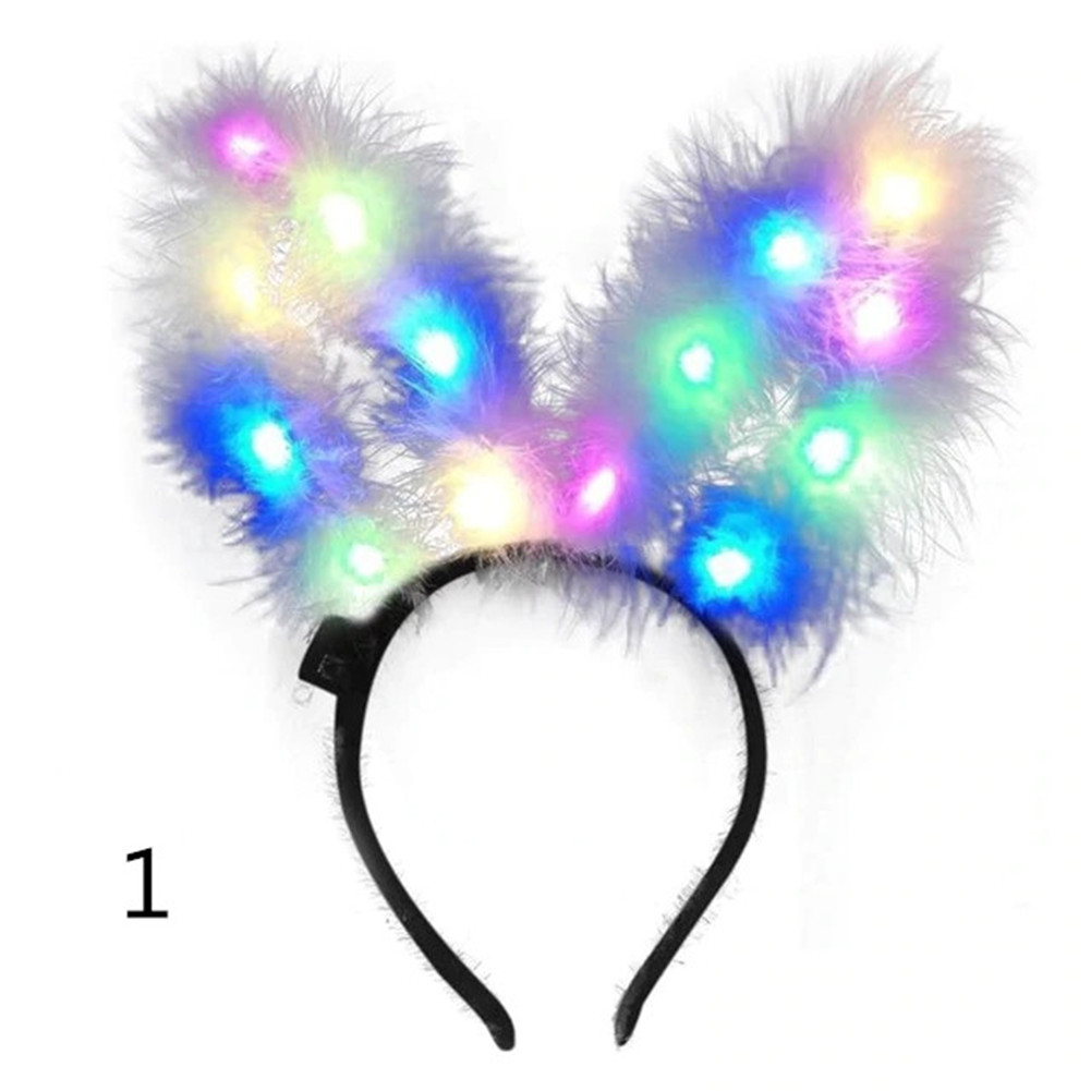 Lovely 14LEDs Luminous Feather Rabbit Ear Headband Hair Hoop for Vocal Concert Scenic Area Night Market Wear