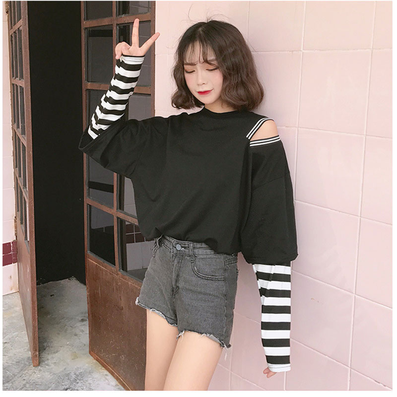Women Autumn Students Loose Large Fake 2 Pieces Thin Long Sleeve T-shirts for Casual Campus black_M
