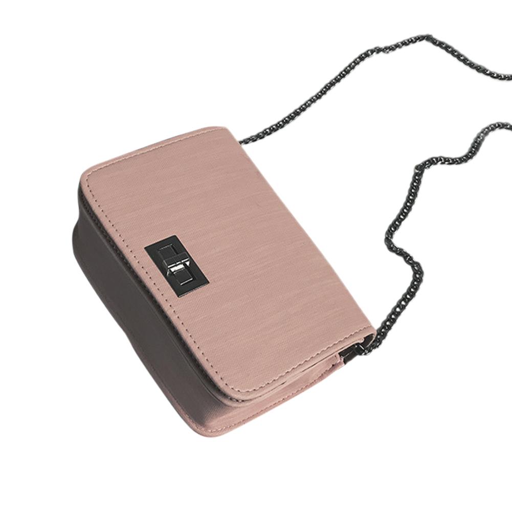 Woman Woven Design Spin Lock Small Bag Chain Single Shoulder Belt Satchel Pink