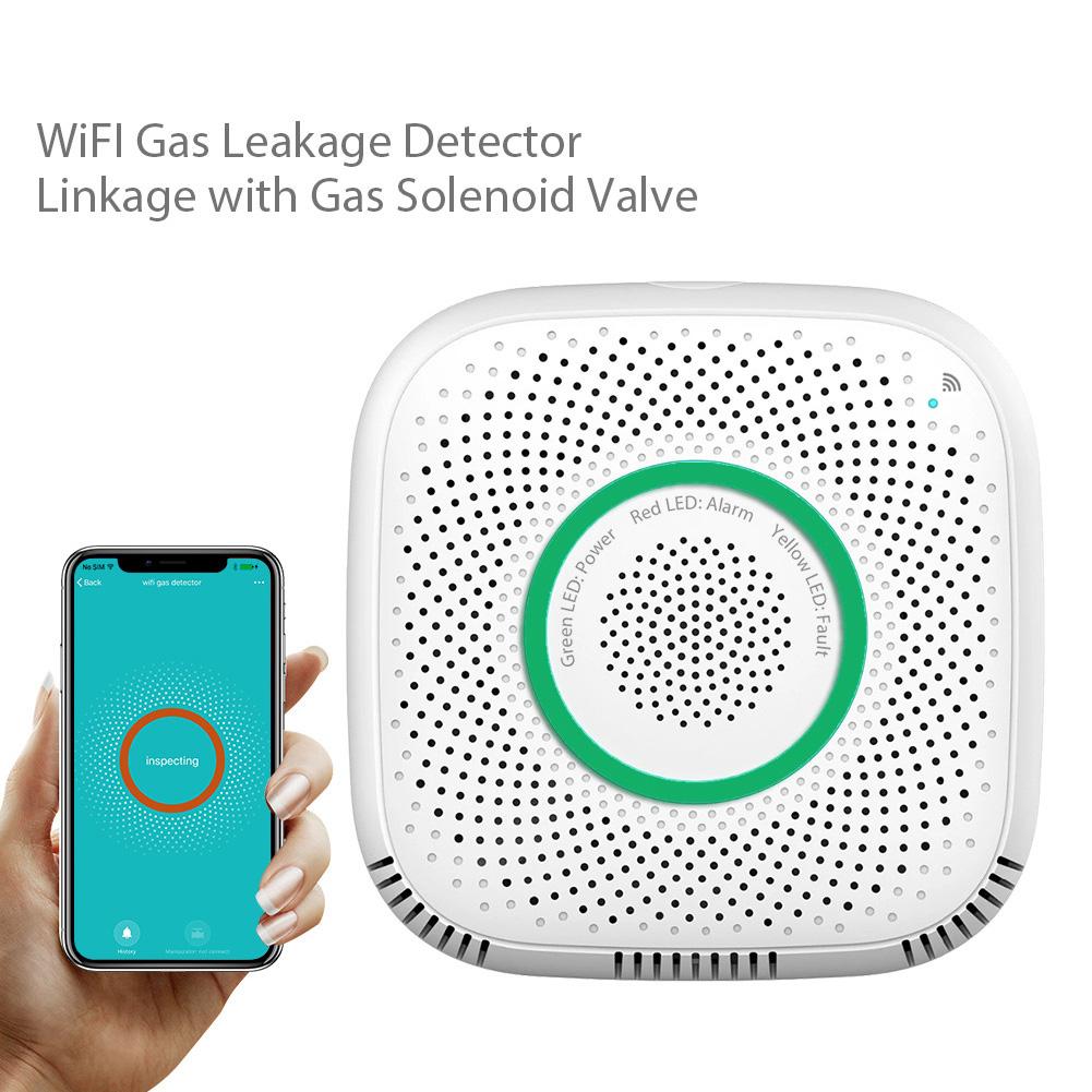 Gas Detector Voice Alarm Smart Home WIFI Gas Linkage Alarm Sensor Home Security EU Plug