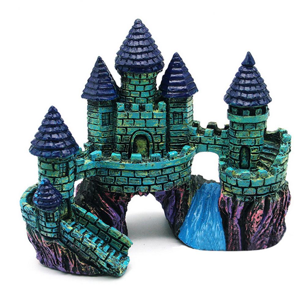 Simulate Resin Castle Landscape Ornament for Aquarium Fish Tank Decoration  blue