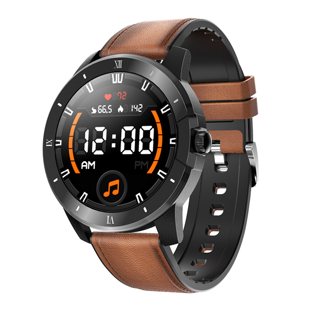 Mx12 Smart Watch Bluetooth Call Music Player Sports Bracelet Keep Health Smart Watch Silver dial brown leather belt