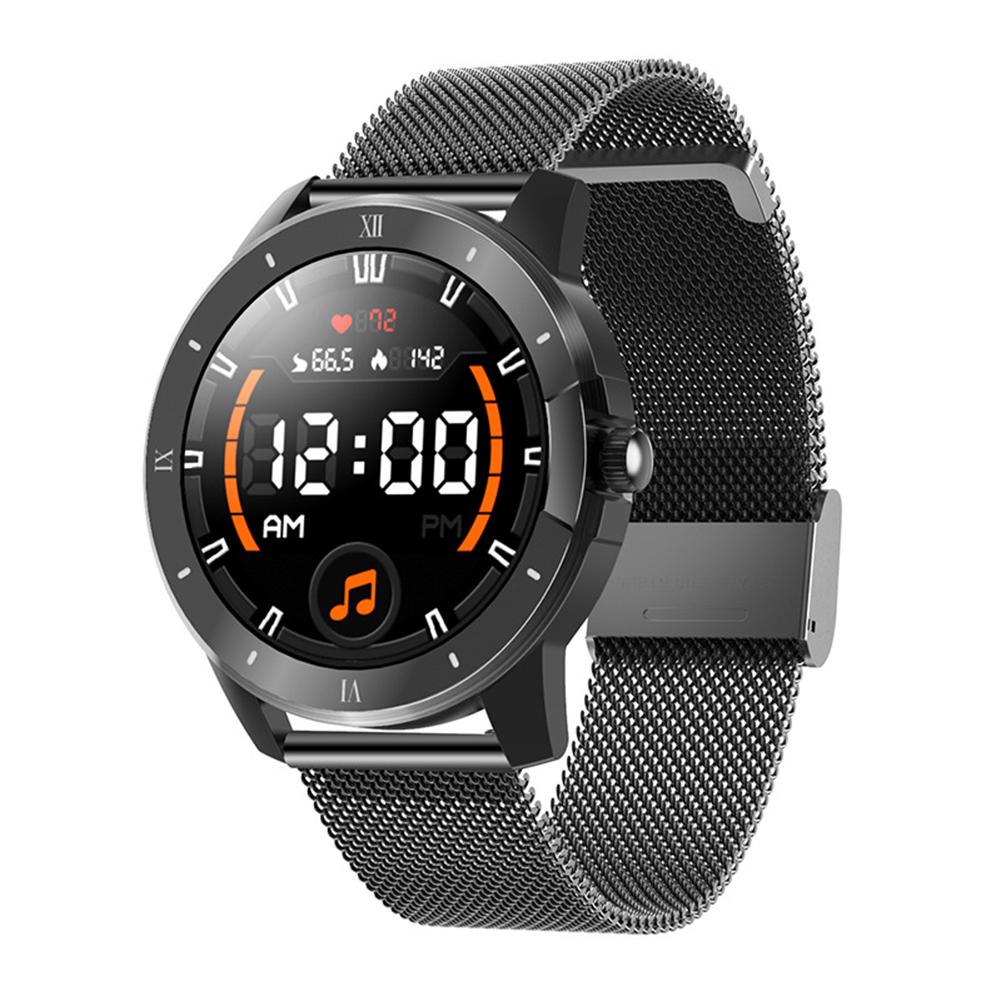 Mx12 Smart Watch Bluetooth Call Music Player Sports Bracelet Keep Health Smart Watch Black dial black steel belt