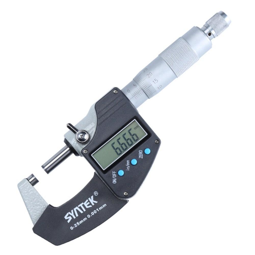 Syntek Micrometer Steel High Precision 0.001mm 3 Button Outer Diameter Measurement Digital Display 0-25mm