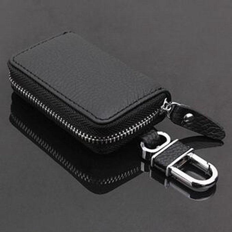PU Leather Car Key Wallets Men Key Holder Housekeeper Keys Organizer Zipper Key Case black