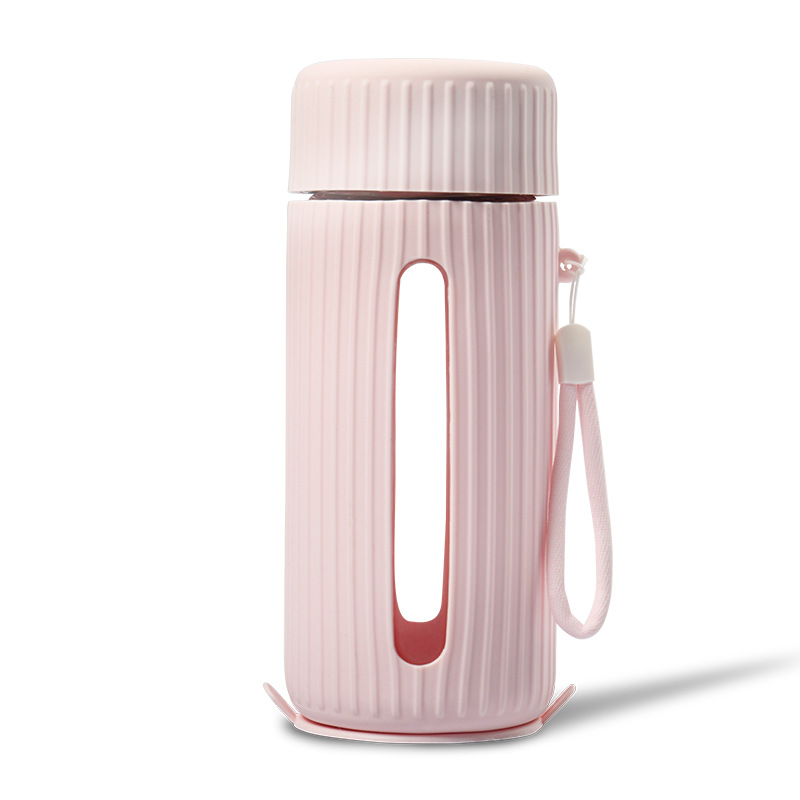 Insulated Thermos  Mug With Handle Heat Resistant Anti-slip Water  Bottle Gear model pink (cup + cover)