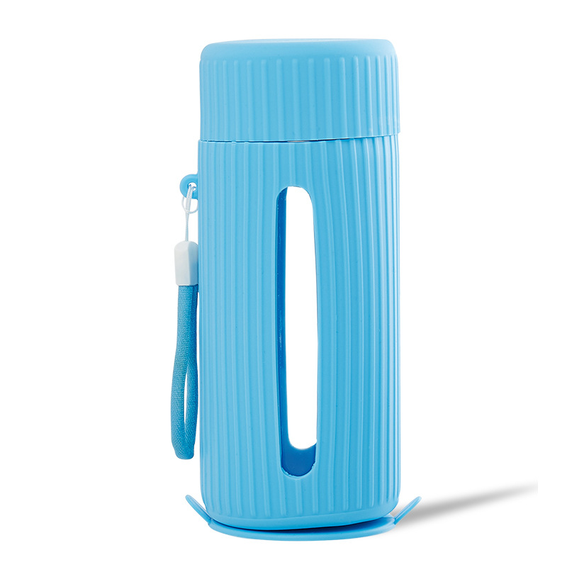 Insulated Thermos  Mug With Handle Heat Resistant Anti-slip Water  Bottle Gear mode lblue (cup + cover)