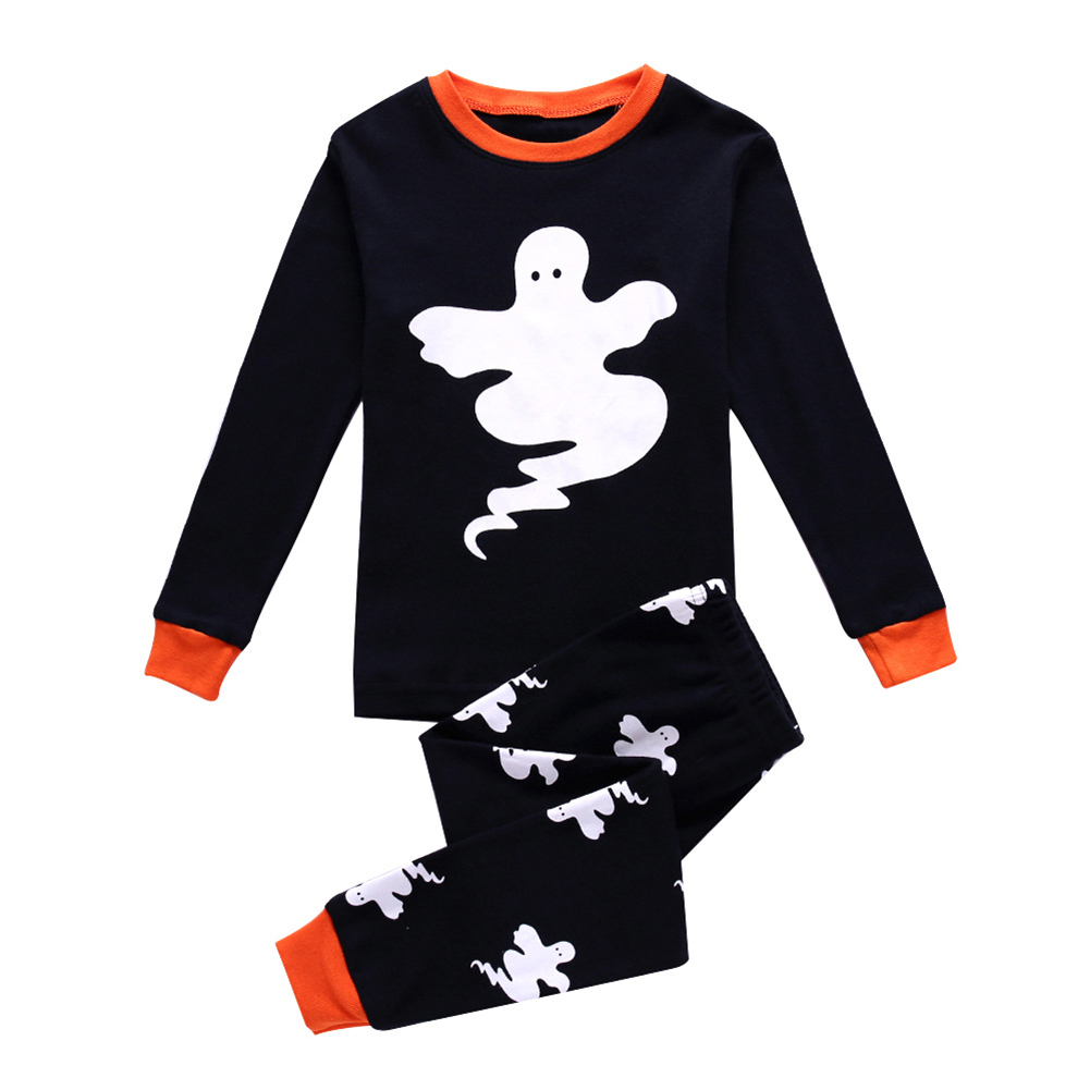 Kids Baby Boys Girls Long Sleeve Round Neck Ghost Pattern Tops + Long Pants Sleep Clothes Pajamas