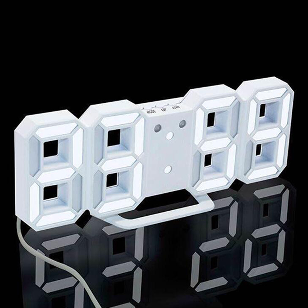 Modern Digital LED Desktop Desk Night Alarm Clock 24 Hours 12 Hours Electronic Temperature Display Time White frame white light