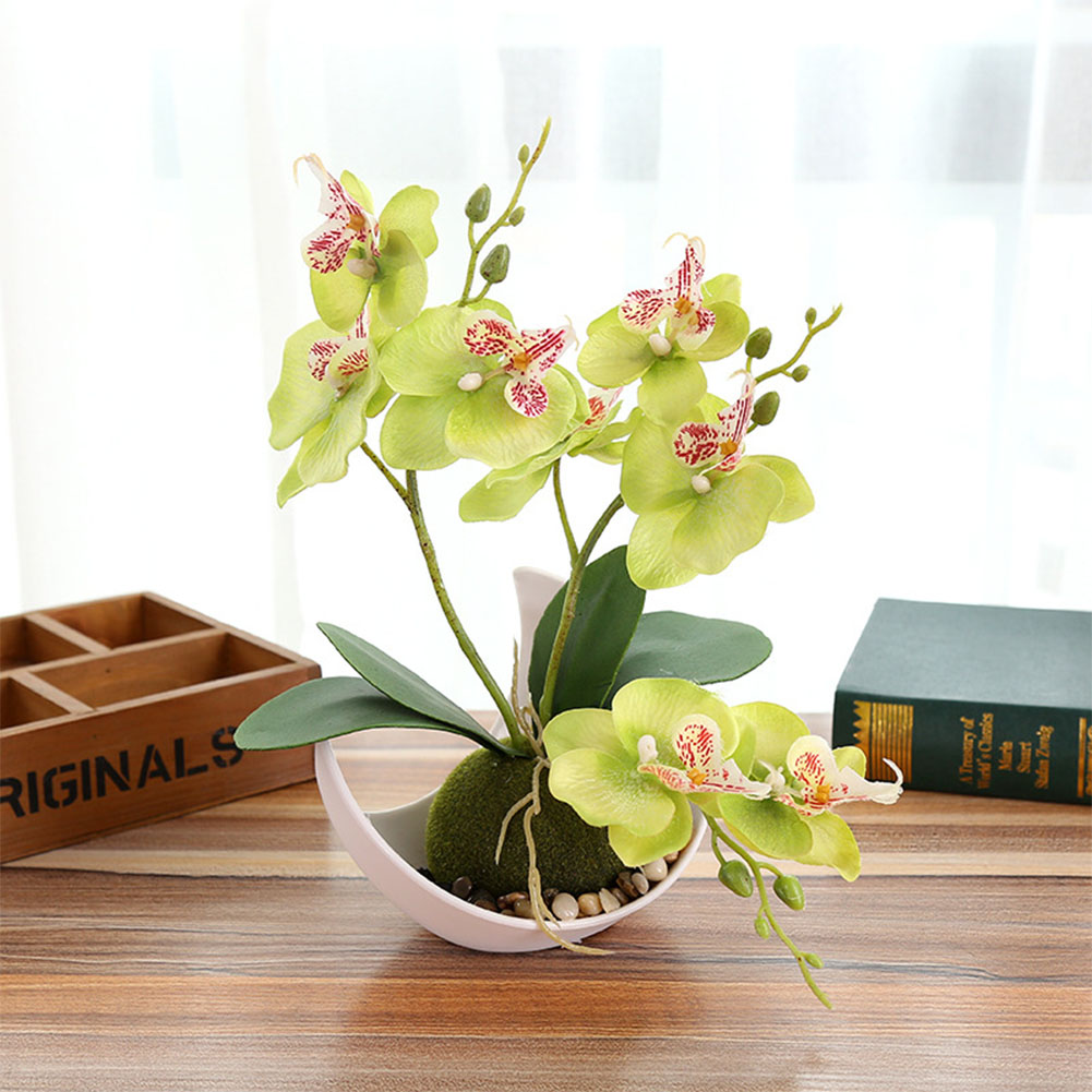 3-branch Simulate Butterfly Orchid with Flowerpot Potted Artificial Plant Home Garden Office Decoration green