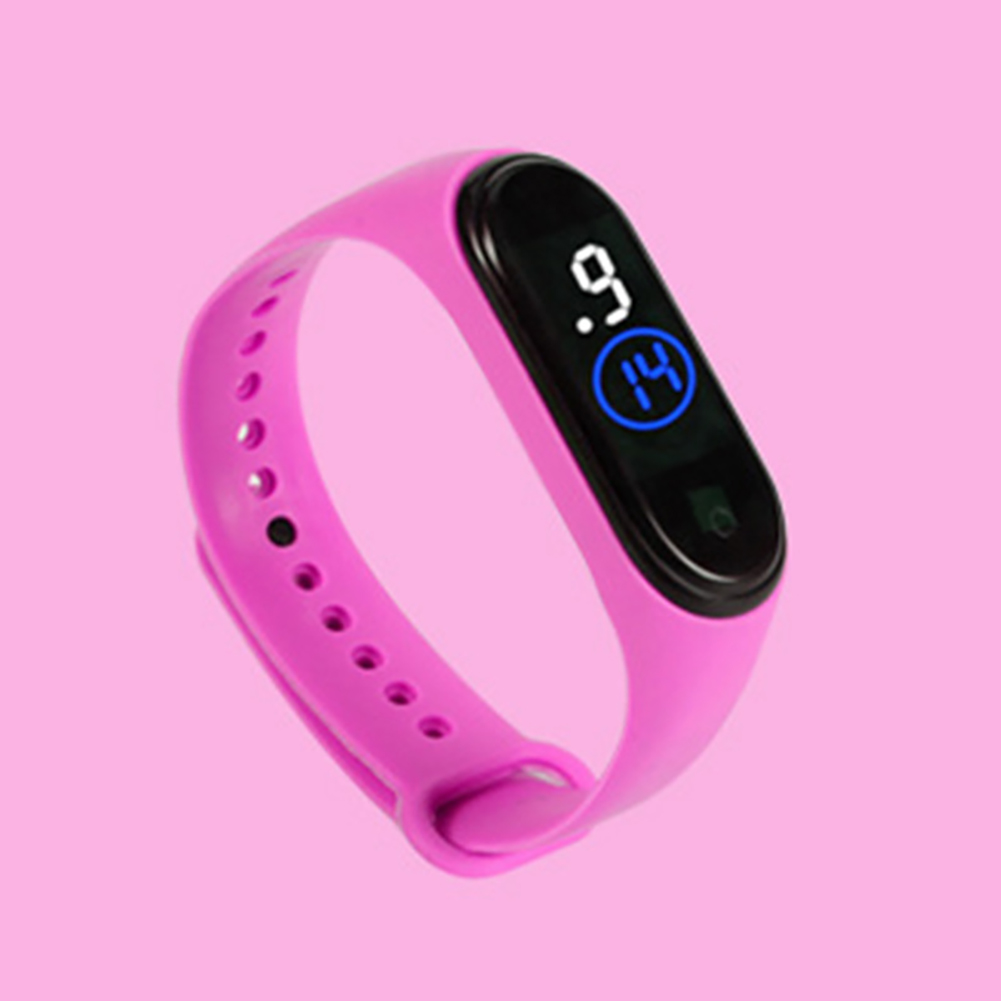 Waterproof M4 LED Muamaly Digital Watches Touch Control Sports Casual Stylish Boys Girls Watch Rose red