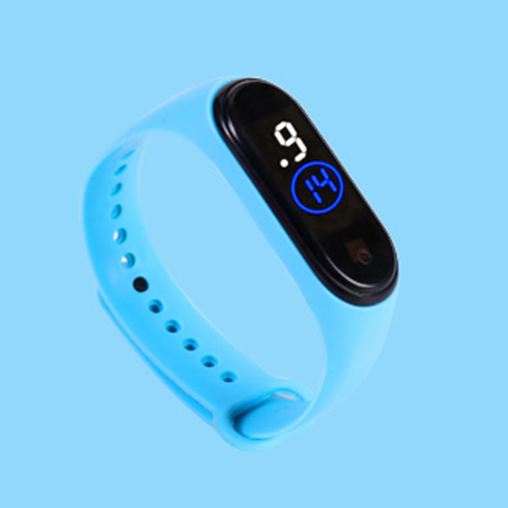 Waterproof M4 LED Muamaly Digital Watches Touch Control Sports Casual Stylish Boys Girls Watch Light blue