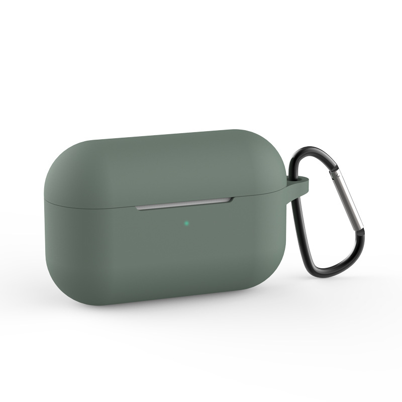Silicone Wireless Bluetooth Headset Protective Case Cover with Hook for Air Pods Pro Dark green