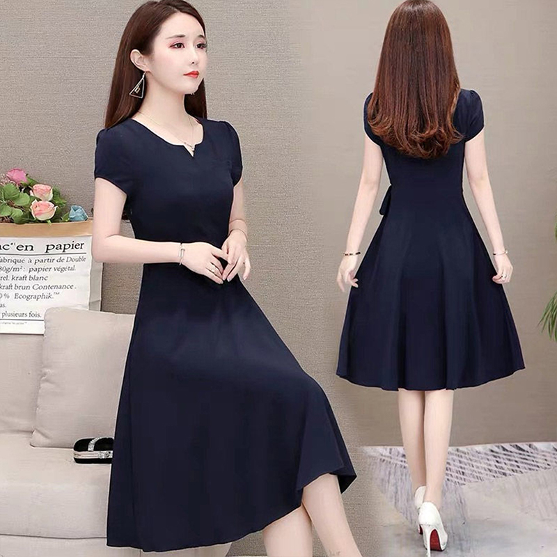 Woman Summer Loose Pure Color Short Sleeves Mid-length Dress Female Fashion Dress Navy_4XL