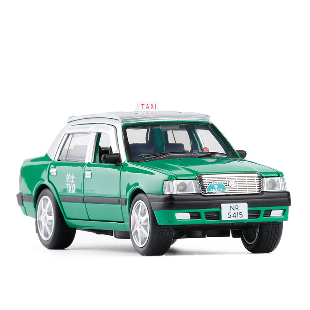 Mini Alloy Pull Back Taxi Car Shape Sound Light Toy for Kids Box-packed green