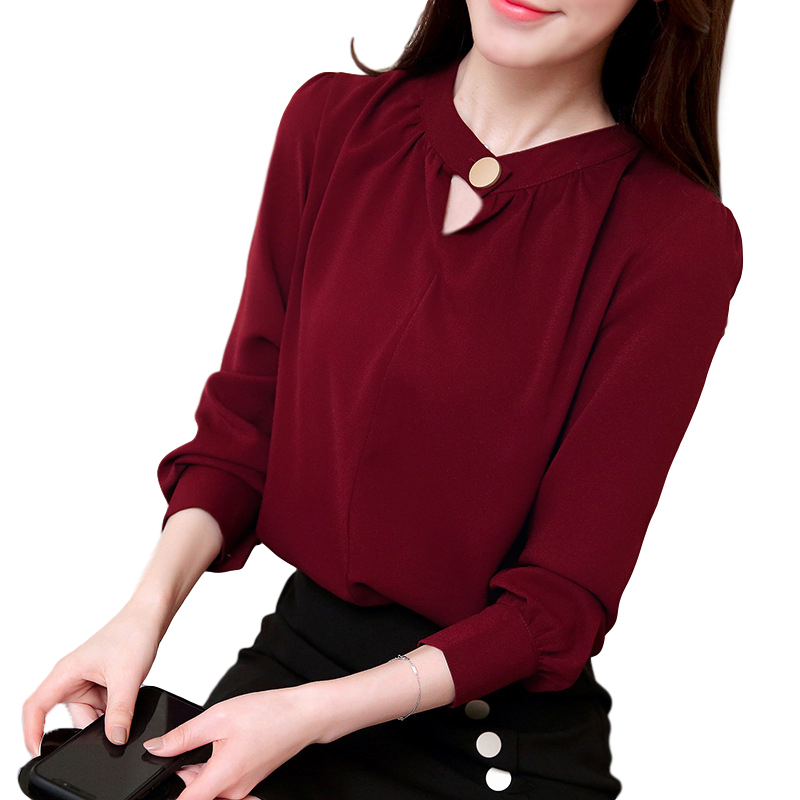 Women Shirt Spring Autumn Loose Stand Collar Shirt Sweet Style Long Sleeve Chiffon Shirt Red wine_L