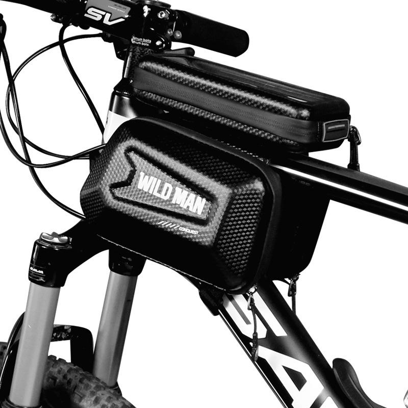 Bicycle Top Tube Bag Shell Shape TPU Touch Screen Waterproof Bike Frame Bag black_Upgraded version