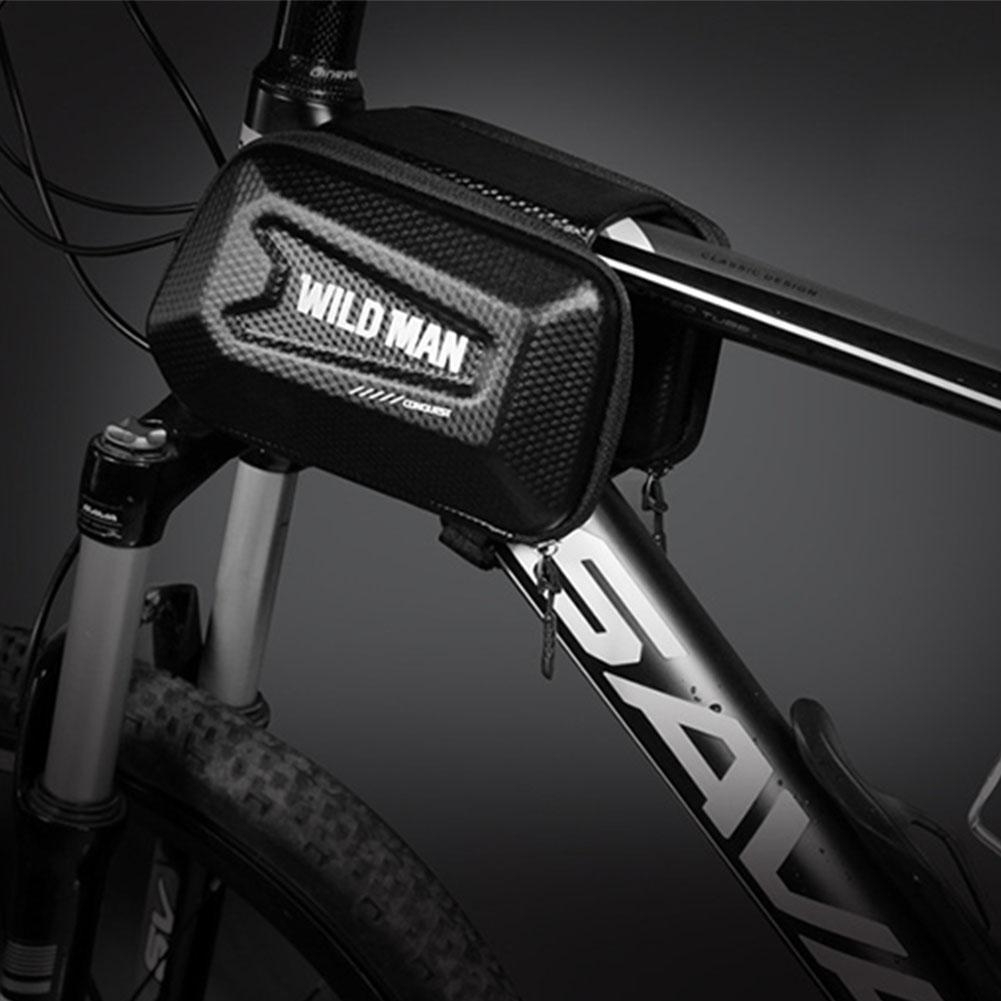 Bicycle Top Tube Bag Shell Shape TPU Touch Screen Waterproof Bike Frame Bag black_Commuter version