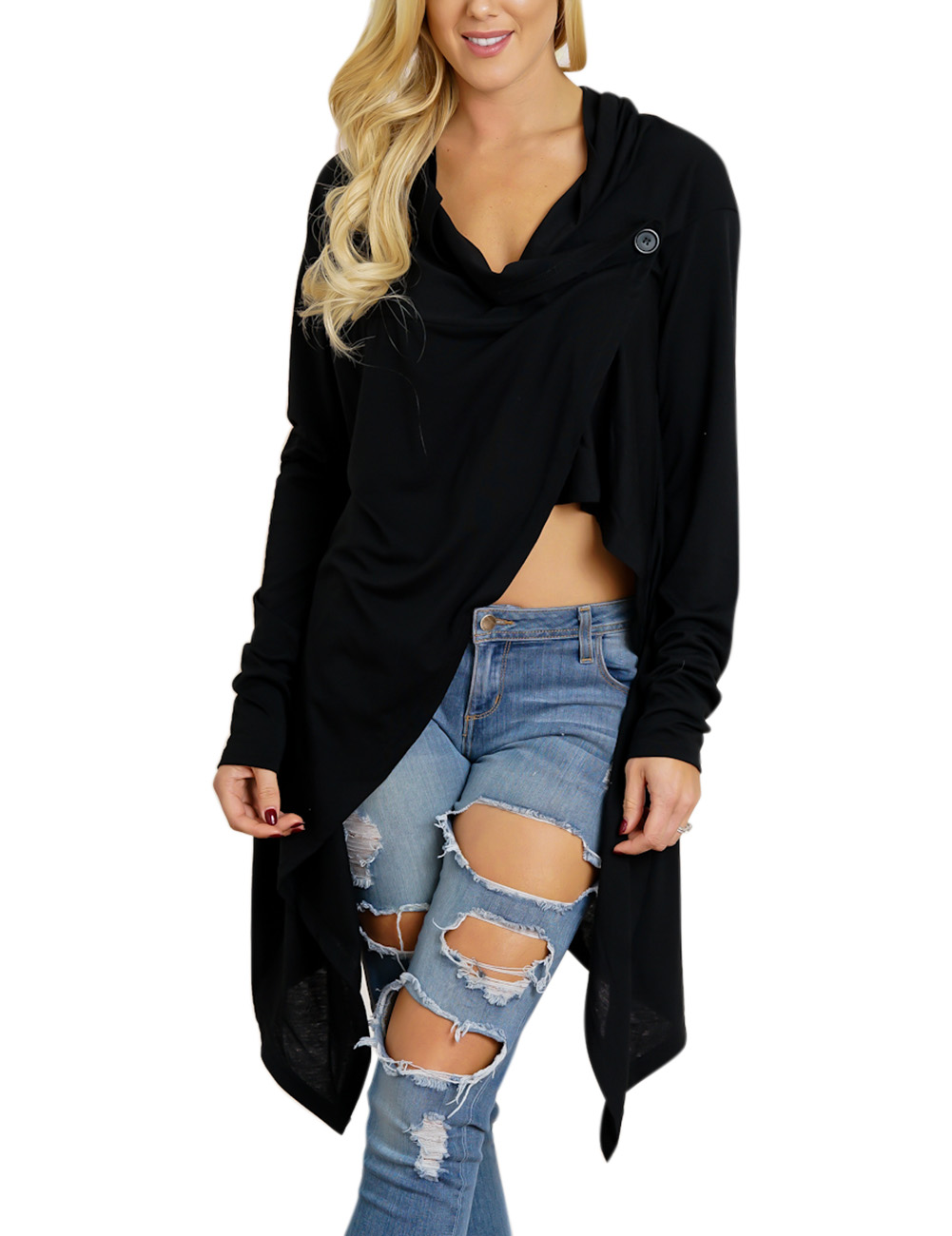 Women Cool Black Cotton Pullover Sweater Long Fashionable Comfortable Clothes