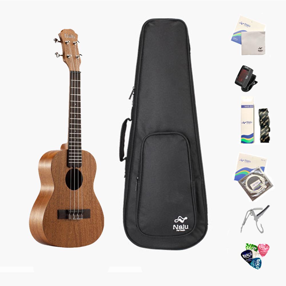 21/23/26inch N-520 Mahogany Ukulele Hawaiian Small Guitar Ukelele Kit Soprano Tenor Concert 4 String Guitar with Tuner Strap Capo Pick for Beginners 21inch