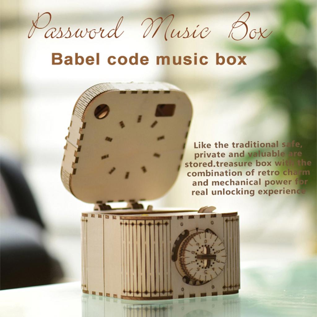 DIY 3D Treasure Box Music Box Wooden Puzzle Model Toy Kids Adult Gift 3D Wooden Handmade DIY Password Music Box 2007
