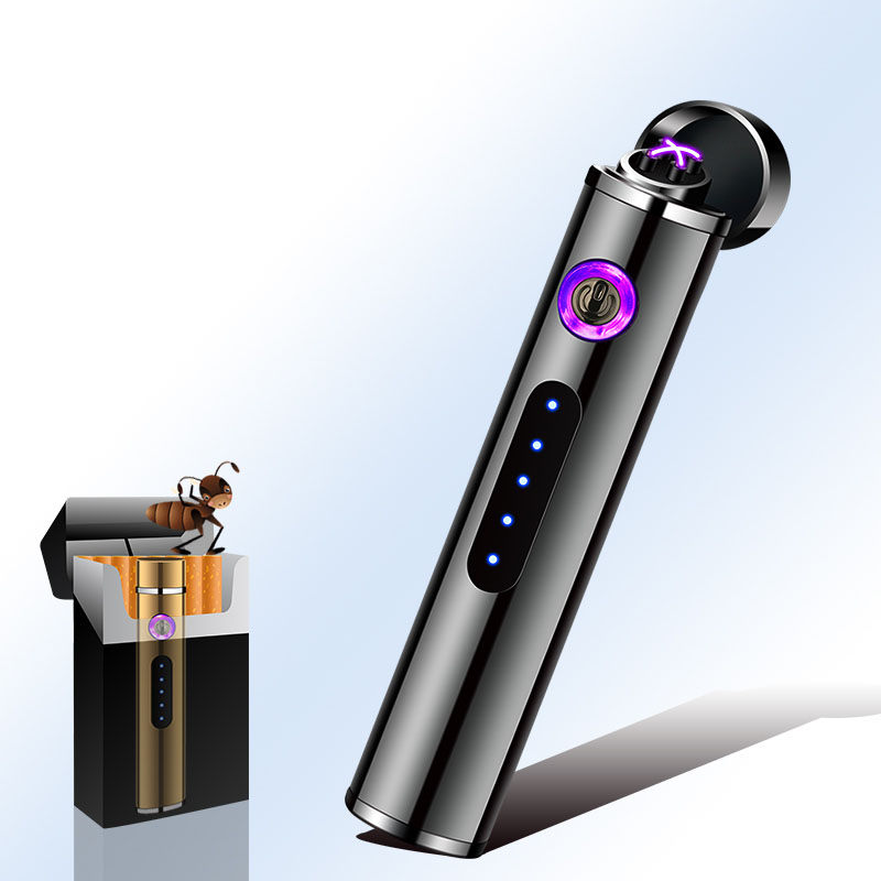 Mini Cigarette Lighter Cylindrical Shape USB Charging Touch Sensor Windproof Flamless Travel Electronic Lighter  Black