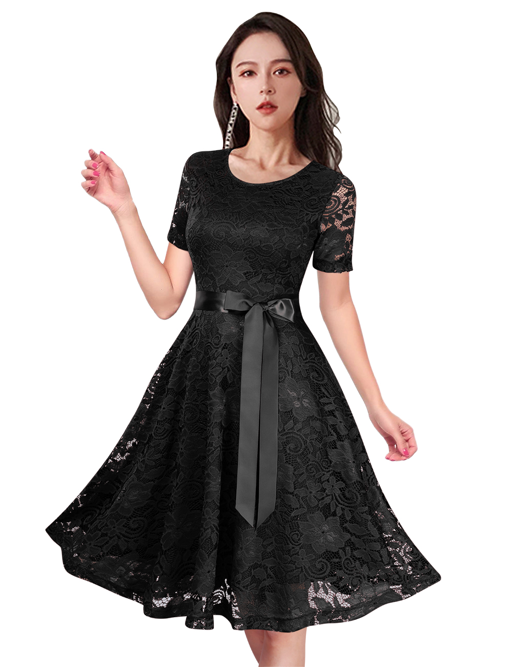 GloryStar Women's Short Sleeve Solid A-Line Bowknot Cocktail Party Lace Midi Dress