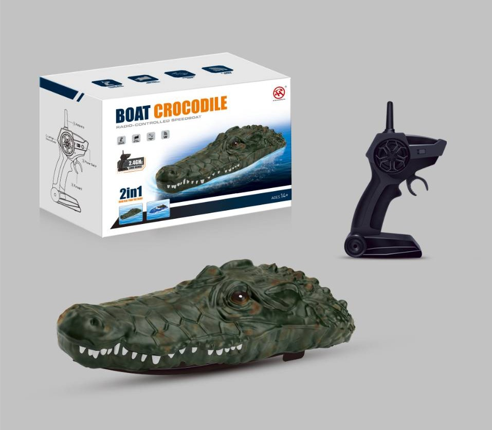 RH702 2.4G RC Boat Simulation Crocodile Head Racing Boat Electric Waterproof Spoof Toy green
