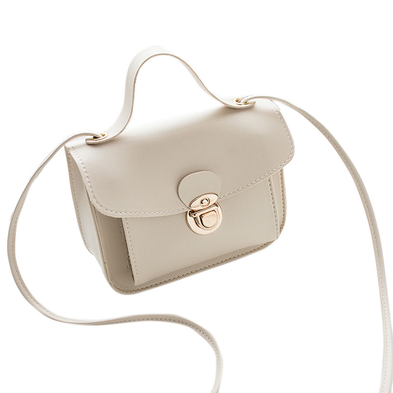 Women Casual Fashion Solid Color Single Shoulder Bag Sweet Style Mini Square Bag white