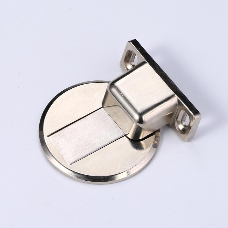 Punch-free Manual Zinc Alloy Magnetic Floor Mounted Door Stopper Door Window Accessories Steel color