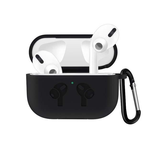 Silicone Case for AirPods Pro Travel Earphone Storage Bag Pattern Printed Headset Cover with Hook for Easy Carrying black