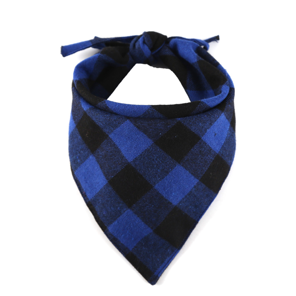 Cotton Plaid Printing Scarf Lacing Saliva Towel for Cat Dog Wear Black and blue plaid_33*33*48cm
