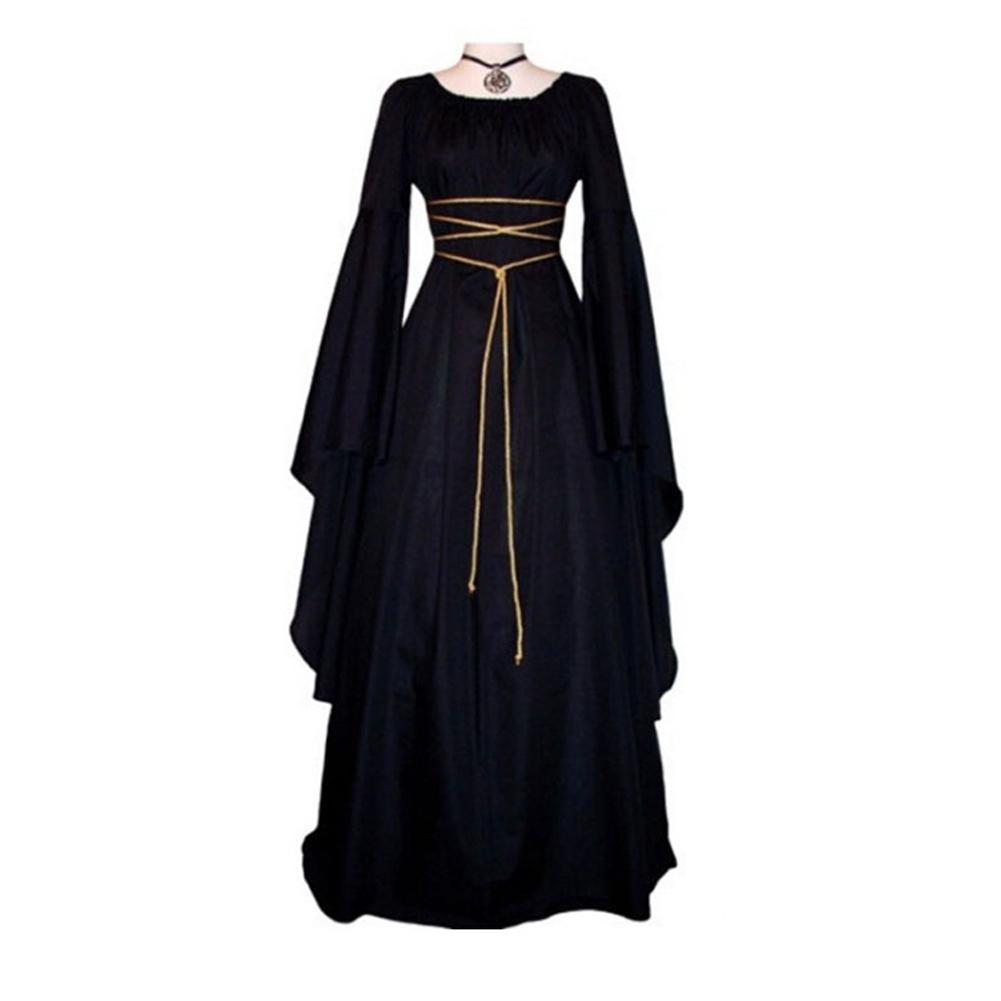 Female Royal Style Long Dress Long Sleeve Round Collar Irregular Cosplay Dress for Halloween Party black_XXL