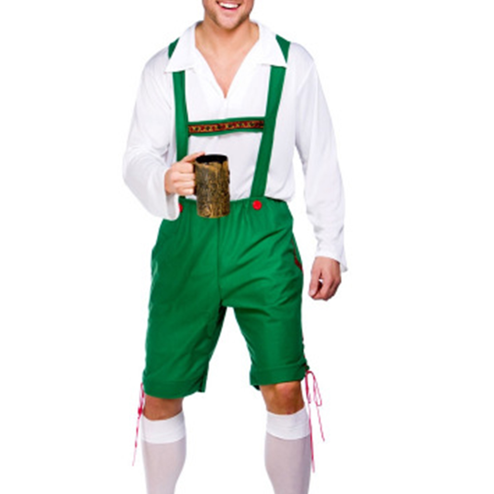 Men Large Size Oktoberfest Shirt + Suspender Pants + Hat for Halloween Costumes green_M