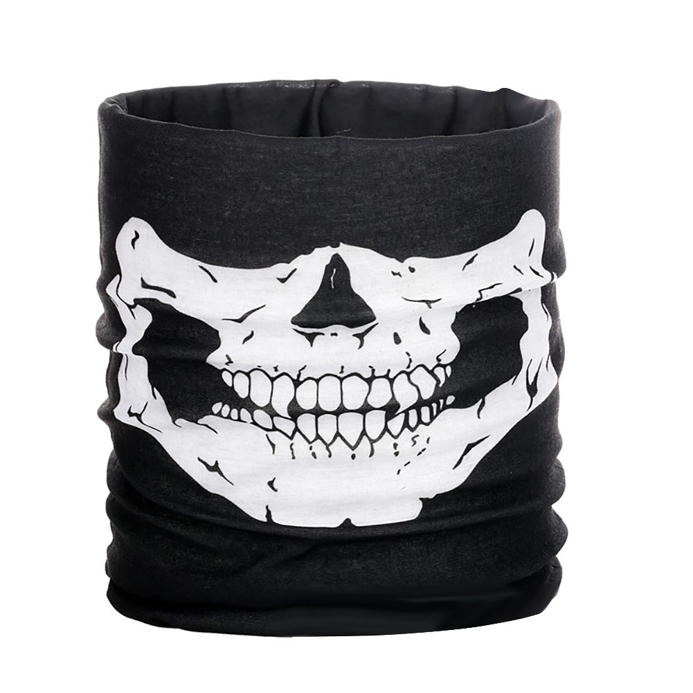 Halloween Props Mask Multi-function Seamless Headscarf Outdoor Sports Riding Mask Horror Skull Collar white_One size